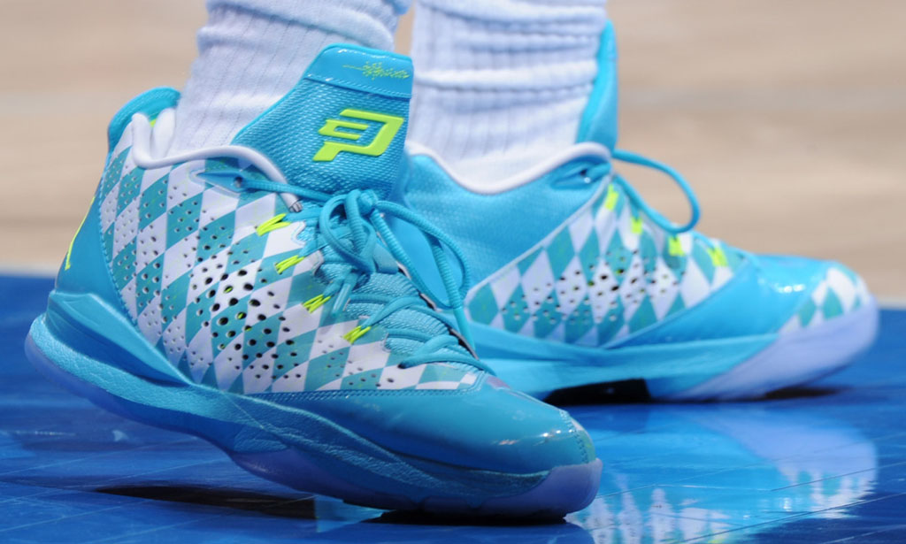 Chris Paul wearing Jordan CP3.VII University Blue Argyle iD PE