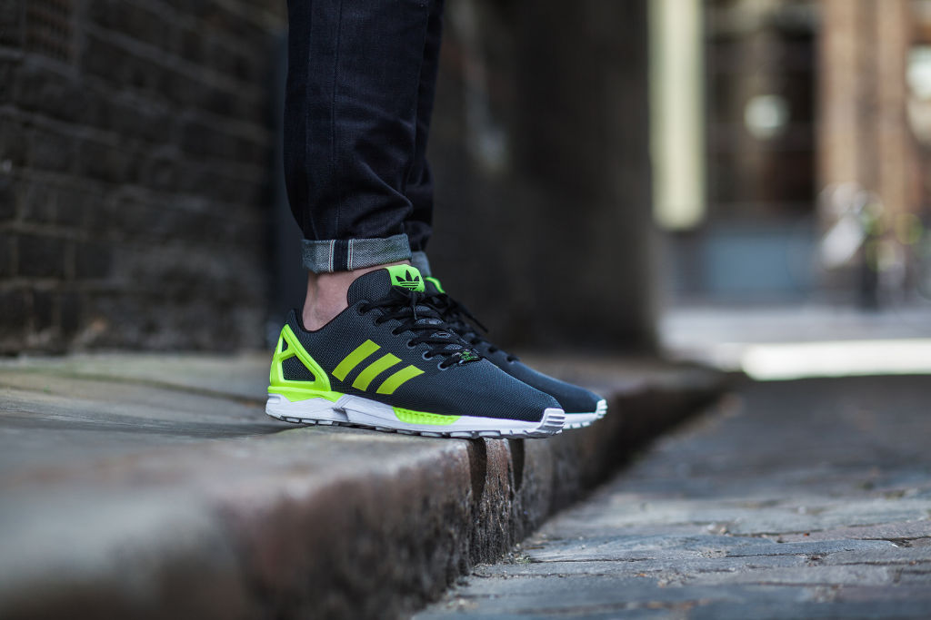 adidas ZX Flux Base Pack Grey/Yellow On-Foot
