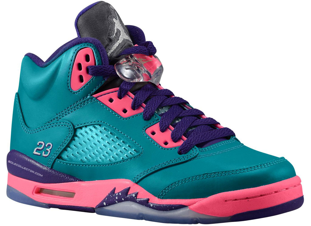 Air Jordan V 5 Retro GS Teal Pink Purple 440892-307