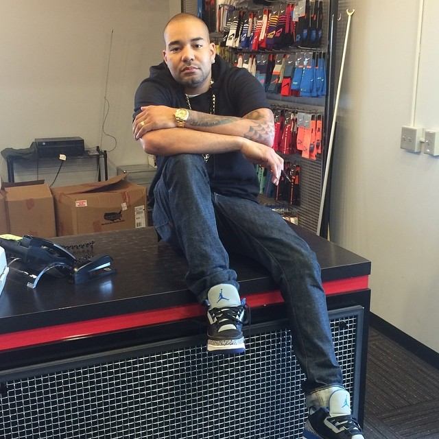 DJ Envy wearing Air Jordan III 3 Sport Blue