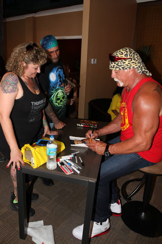 Hulk Hogan wearing Air Jordan 5 V Retro Fire Red