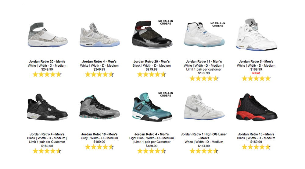 Liste Air Jordan 2015