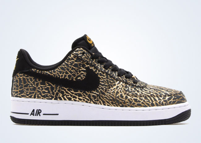 Nike Air Force 1 Low In Black And Gold Elephant Sole Collector
