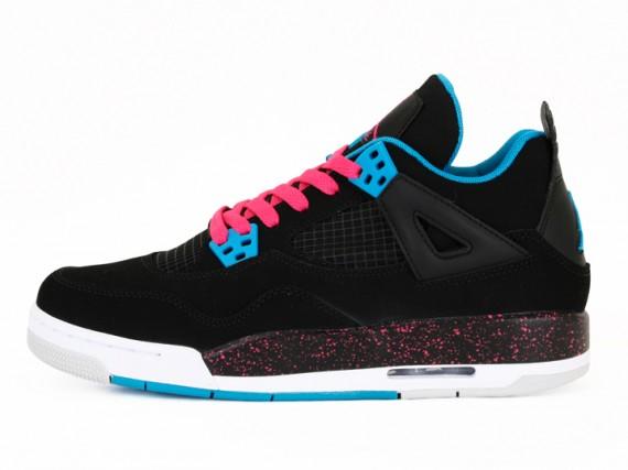 Air Jordan 4 Gs Rétro - Noir / Dynamique Bleu Rose Vif