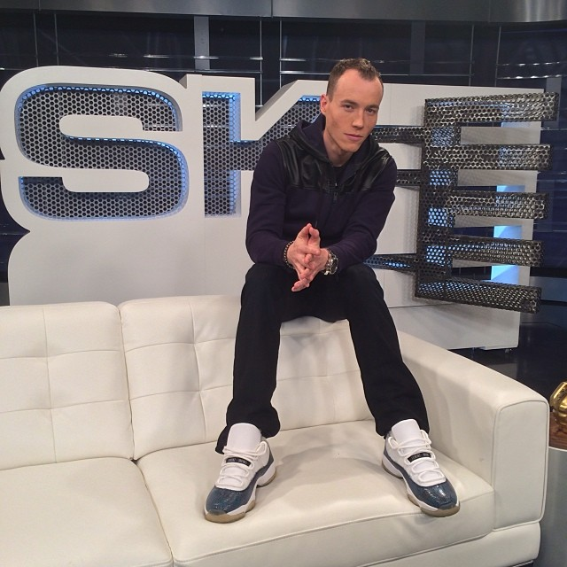 DJ Skee wearing Air Jordan 11 Low Snake