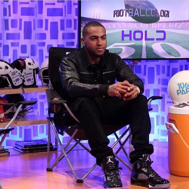 Desean Jackson wearing Air Jordan 5 Retro Doernbecher