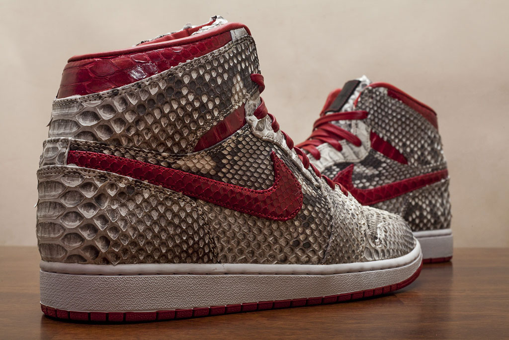 Air Jordan 1 Natural & Metallic Red Python by JBF Customs (3)