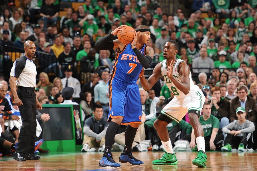 Carmelo Anthony wearing the Jordan Melo M7; Jeff Green wearing the Nike Zoom Sharkley