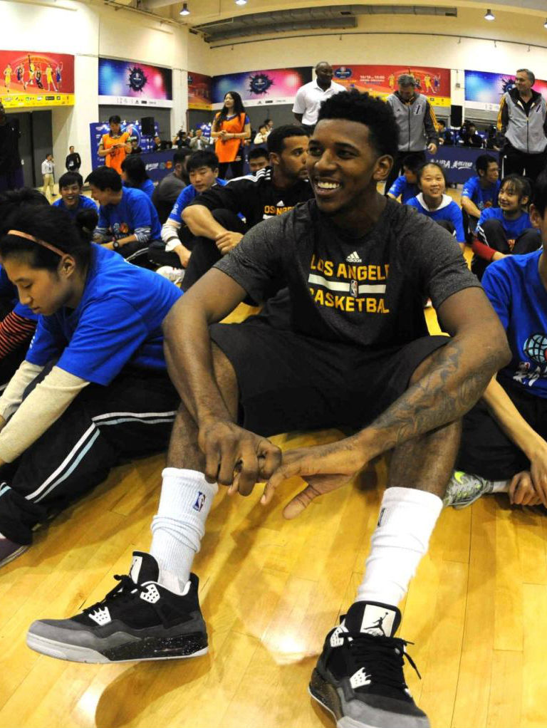 Nick Young wearing Air Jordan 4 IV Retro Fear