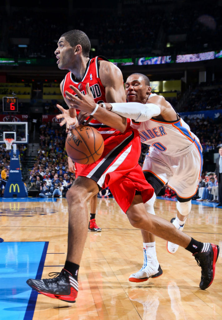 Nicolas Batum wearing adidas adizero Crazy Light 2 Black Red