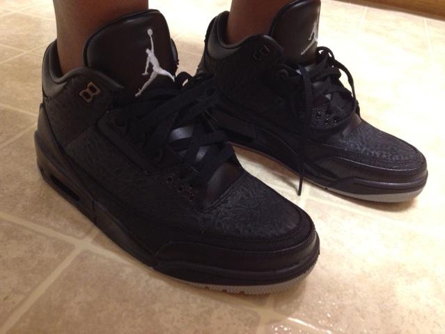 air jordan retro 3 black flip on feet