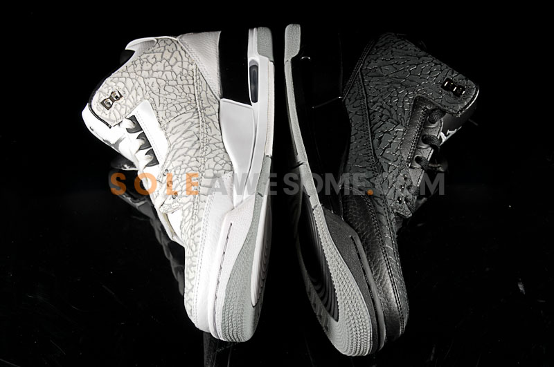 Air Jordan Retro 3 Flip - Black & White Comparison Photos
