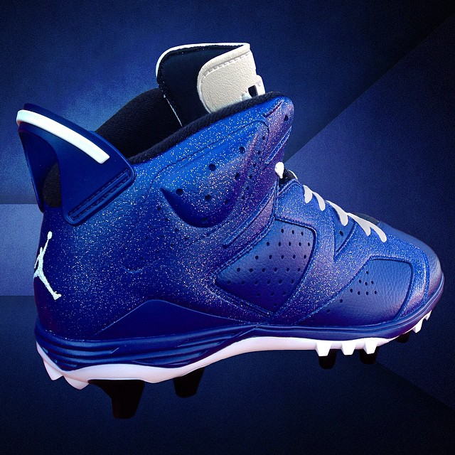 Air Jordan VI 6 Dallas Blue Cleats by Recon for Michael Crabtree (2)