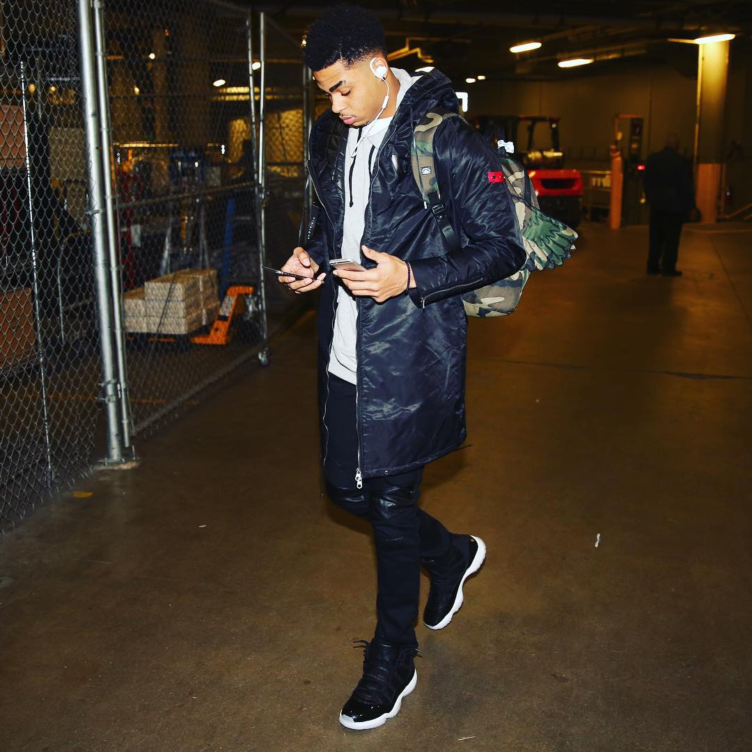 sports shoes c08fb 7f7a0 D Angelo Russell wearing the  72-10  Air Jordan 11