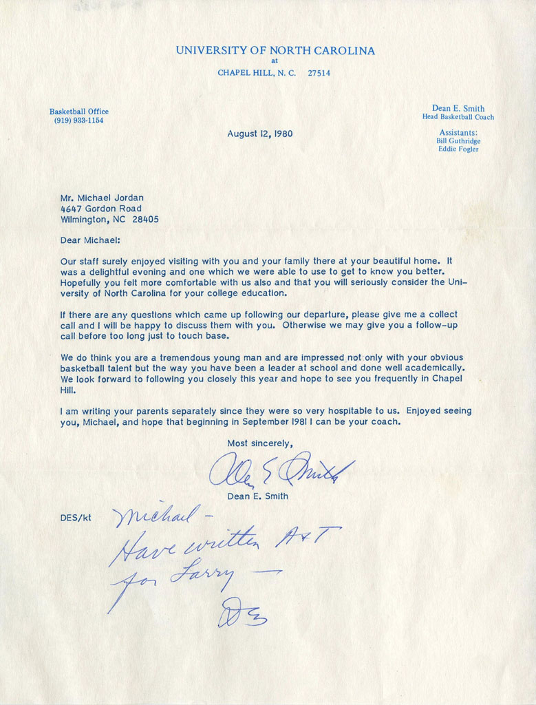 Michael Jordan Recruiting Letter from Dean Smith
