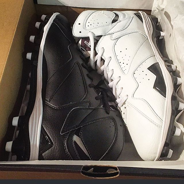 Martellus Bennett's White Custom Air Jordan 7 Cleats by Soles by Sir