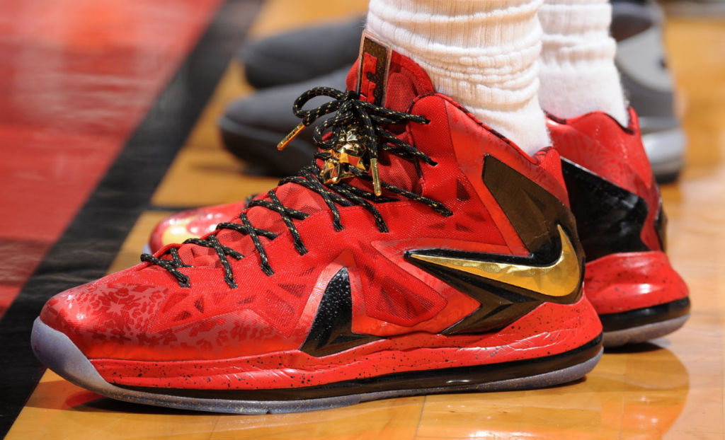 on sale 32217 67b2b LeBron James Wears Red Gold Nike LeBron X PS Elite For Game 1 (5