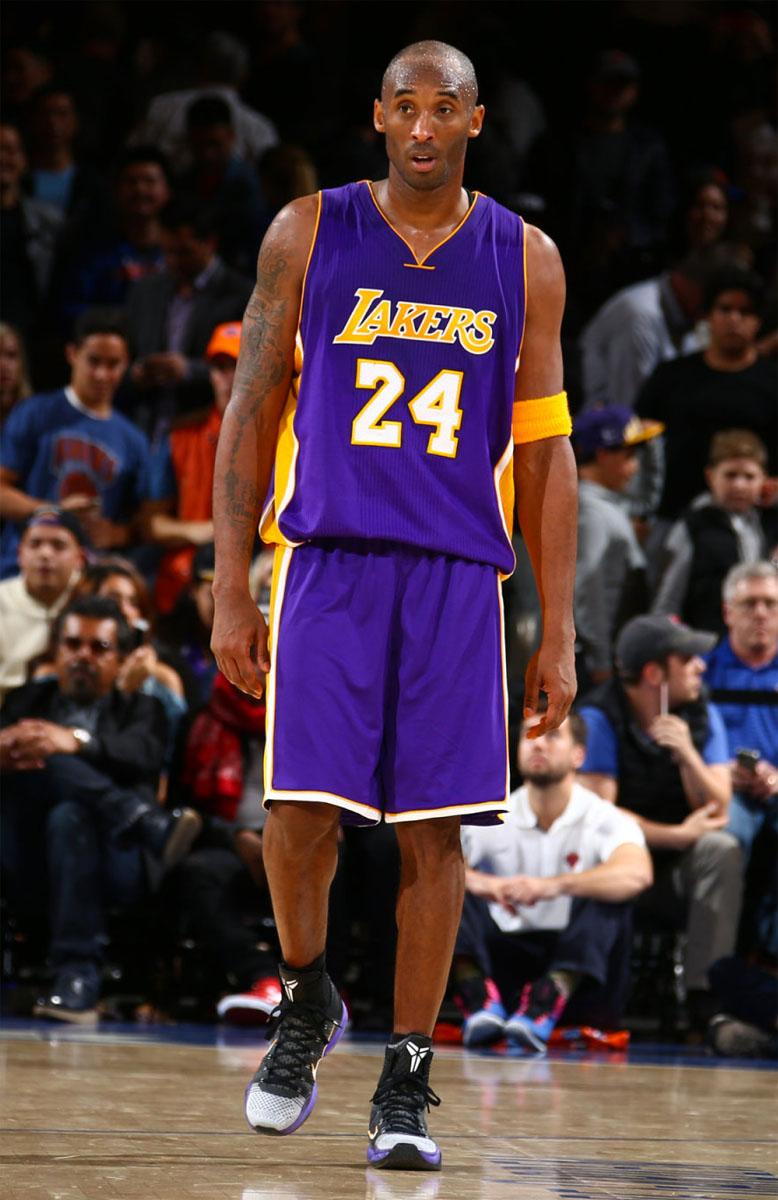 b817185f53c Kobe Bryant wearing Black White Toe Nike Kobe 10 Elite Lakers PE at Madison  Square