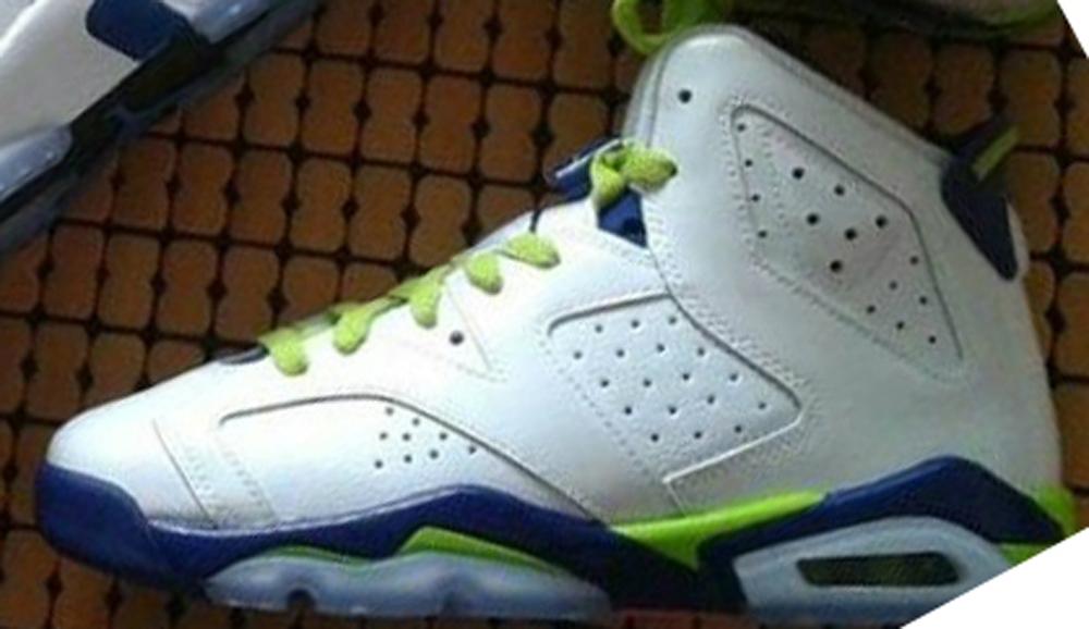 Air Jordan 6 Retro Girls White/Deep Royal Blue-Fierce Green-Hyper Pink