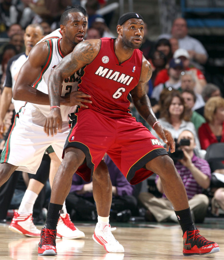 LeBron James wearing Nike LeBron X PS Elite Red Black PE (8)