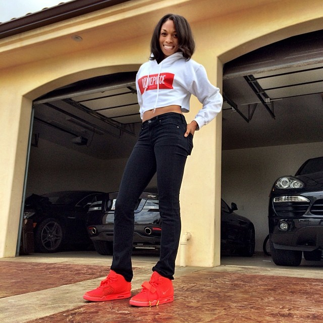Allyson Felix wearing Nike Air Yeezy 2 Red October