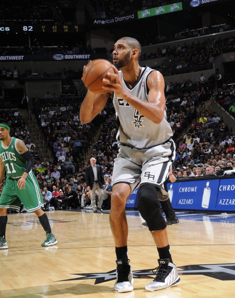 Tim Duncan wearing adidas Flight Path Silver PE