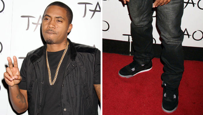 Nas wearing Air Jordan IV 4 Black Cement