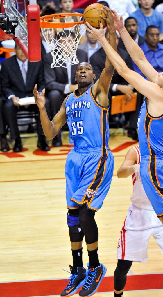 sports shoes 4b5b5 a3c8b Kevin Durant wearing Nike KD V Black Photo Blue Team Orange 554988-048 (1