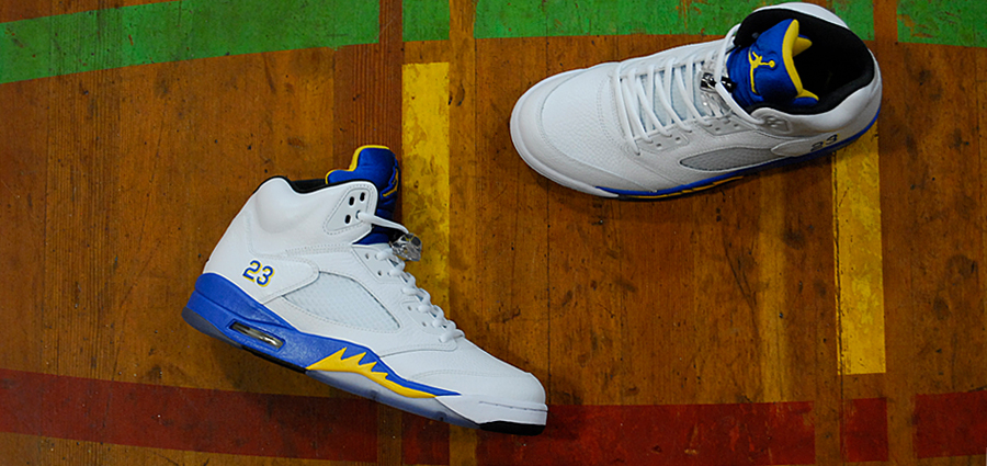 Air Jordan 5 V Retro Laney in White Varsity Maize Varsity Royal and Black