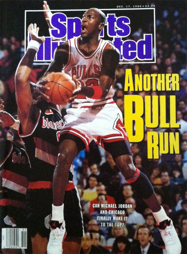 d884257bbeee Michael Jordan wears Air Jordan V 5 Fire Red on December 1990 Sports  Illustrated