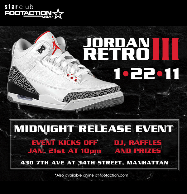 Cement Air Jordan Retro 3 Midnight Release Event NYC