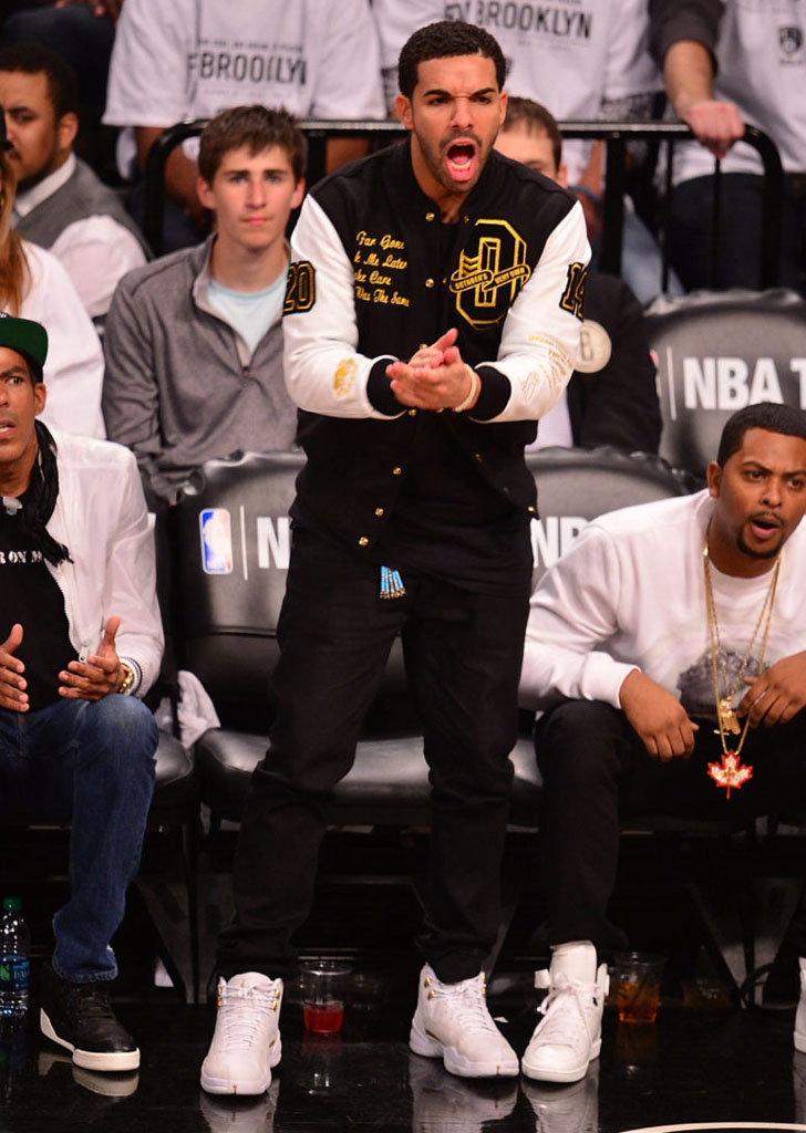 Drake Wearing White 'OVO' Air Jordan 12 (1)