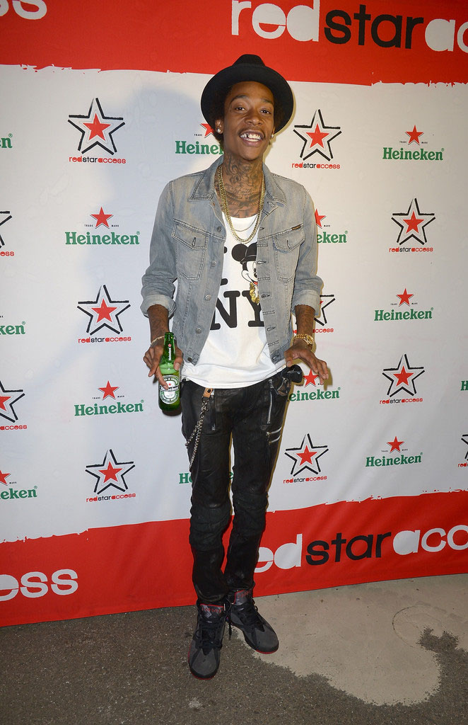 Wiz Khalifa wearing Air Jordan VII 7 Black Red (1)