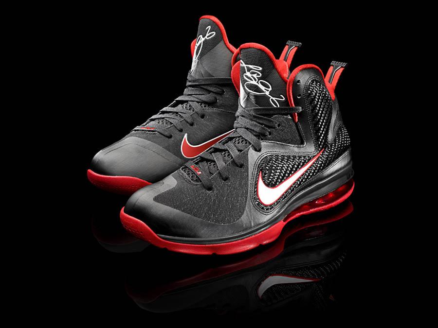 meet d07da 78c20 Nike LeBron 9 IX Black White Sport Red 469764-003