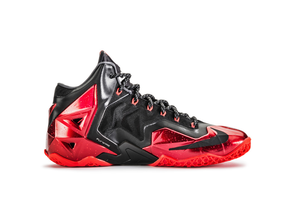 Nike LeBron 11 XI in black university red medial