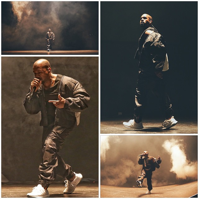 2b3956d06 Kanye West Performs in Another All-White adidas Running Shoe