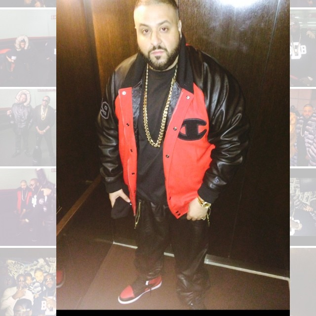 DJ Khaled wearing Air Jordan 1 Retro Black/Red