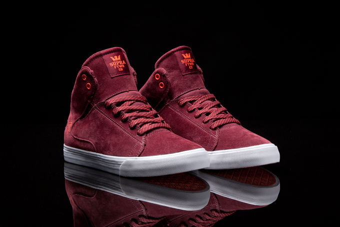 Supra Society Mid Burgundy Suede Orange (2)