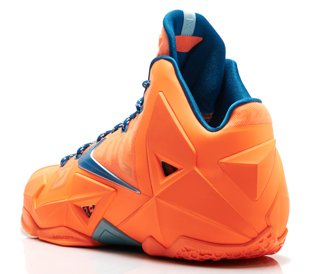 Nike LeBron 11 in Atomic Orange Green Abyss and Glacier Ice heel