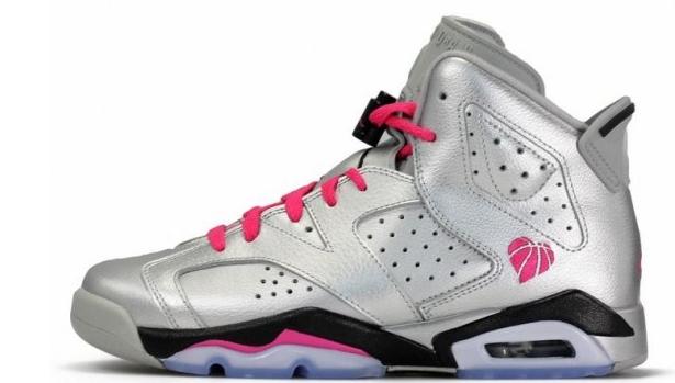Air Jordan 6 Retro Girls Metallic Silver/Vivid Pink-Black