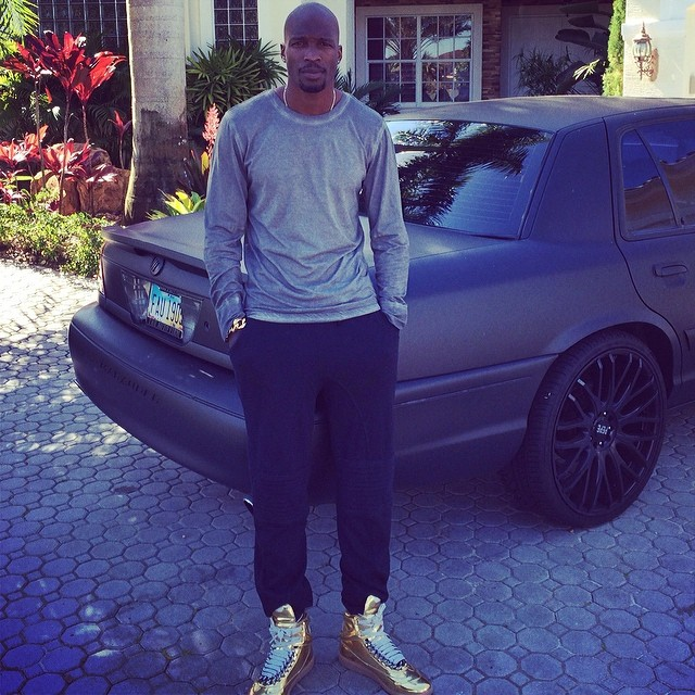 Chad Johnson wearing Maison Martin Margiela Gold Chain Sneakers