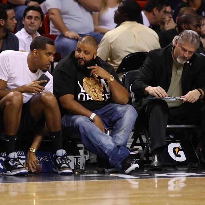 fff0f8d74c18c7 DJ Khaled wearing the  72-10  Air Jordan 11