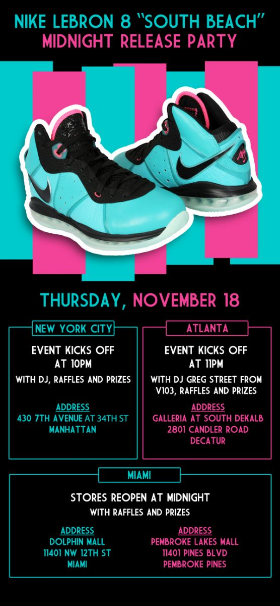 Nike Air Max LeBron 8 South Beach Midnight Release Party @ Footaction