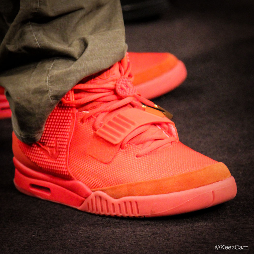 Justin Tuck wearing Nike Air Yeezy 2 Red October (1)