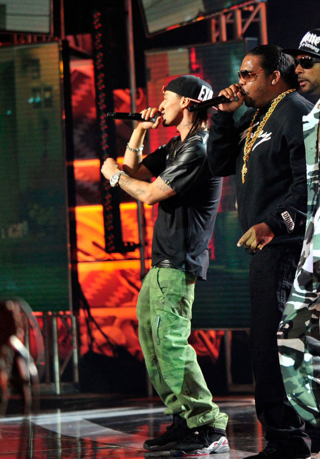 Bizzy Bone wearing Air Jordan 8 VIII Retro Playoffs