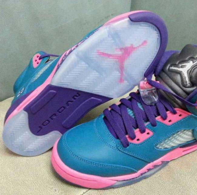 Air Jordan 5 GS in Blue / Purple / Pink