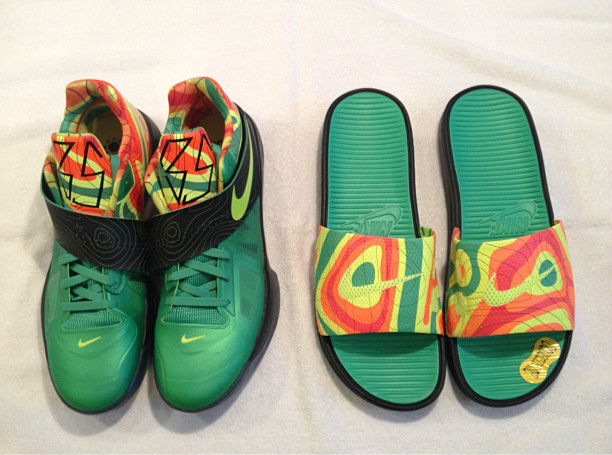 on sale 85cfb 49a85 Nike KD IV Slides Weatherman