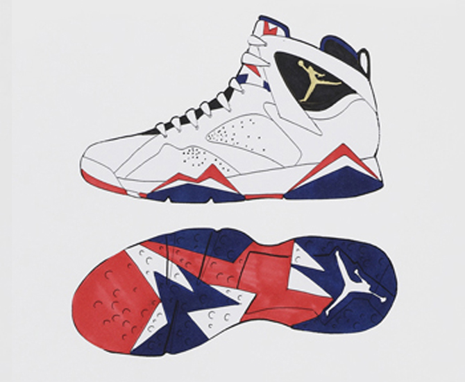 Tinker Hatfield's sketch for the Olympic Jordan 7