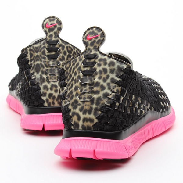 atmos x Nike Free Woven 4.0 QS in leopard and desert camo heel
