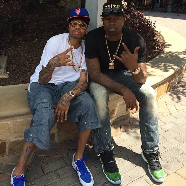 newest d30e8 9ad70 ... Retro  Gamma Blue . Allen Iverson wearing Nike Air Force 1 Low Knicks  Stephen  Jackson wearing Air Jordan XI